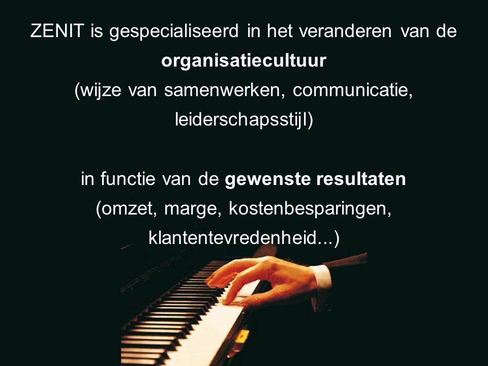 ZENIT is gespecialiseerd in het veranderen van de organisatiecultuur (wijze van samenwerken, communicatie, leiderschapsstijl) in functie van de gewenste resultaten (omzet, marge, kostenbesparingen, klantentevredenheid...)