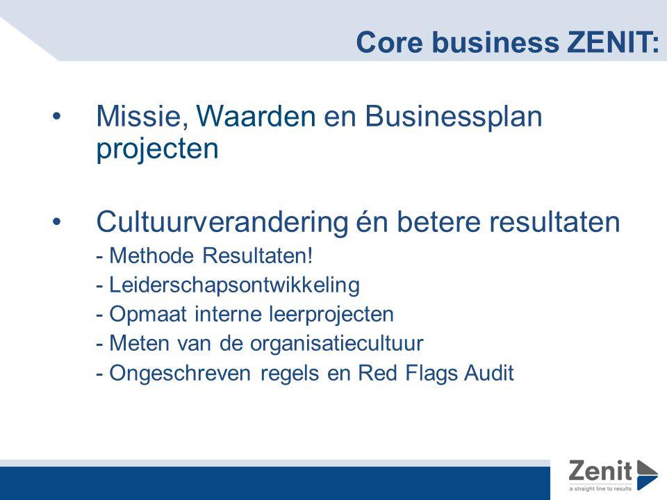 Core business ZENIT: Missie, Waarden en Businessplan projecten Cultuurverandering én betere resultaten - Methode Resultaten.