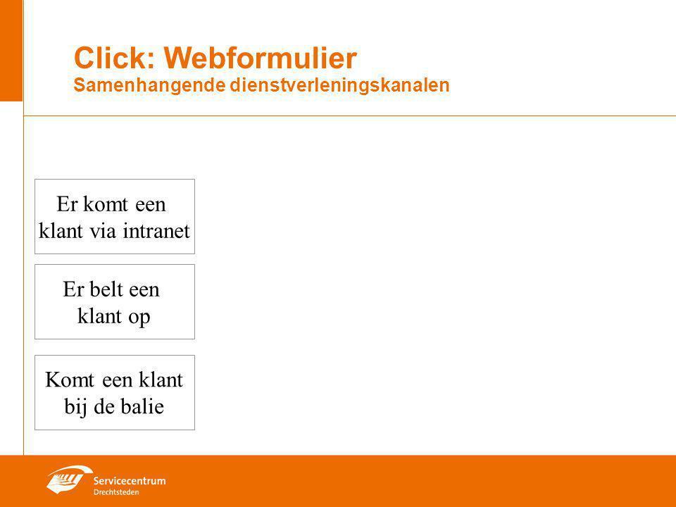 Click: Webformulier Samenhangende dienstverleningskanalen Er komt een klant via intranet Komt een klant bij de balie Er belt een klant op