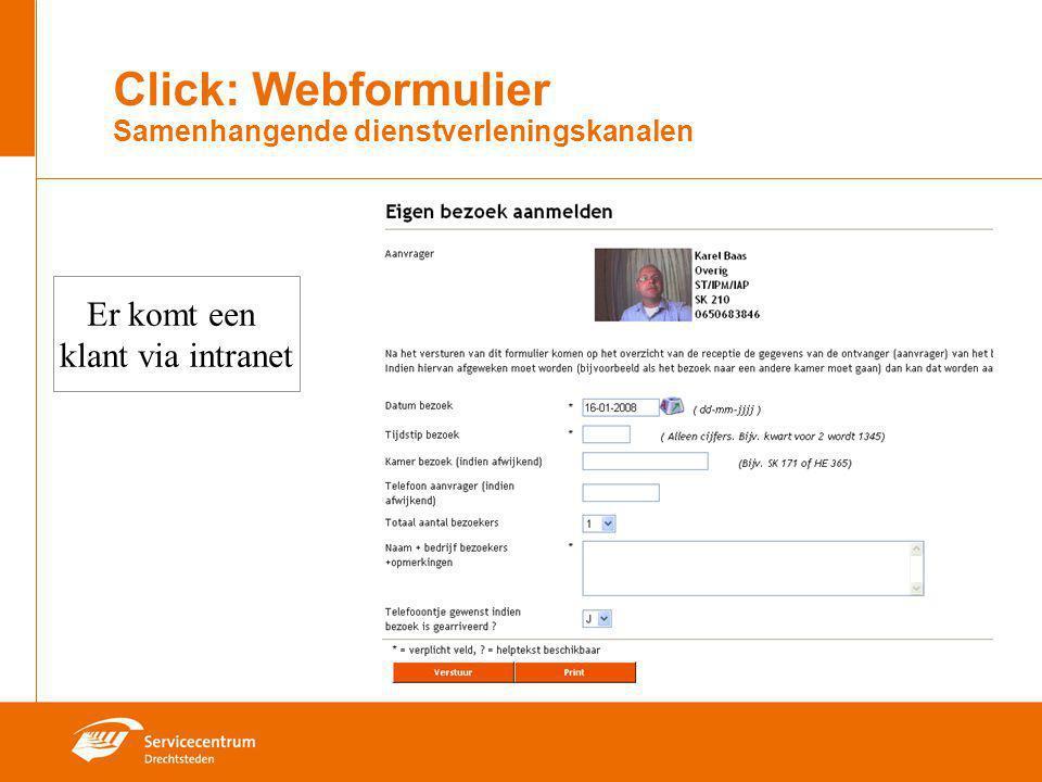 Click: Webformulier Samenhangende dienstverleningskanalen Er komt een klant via intranet