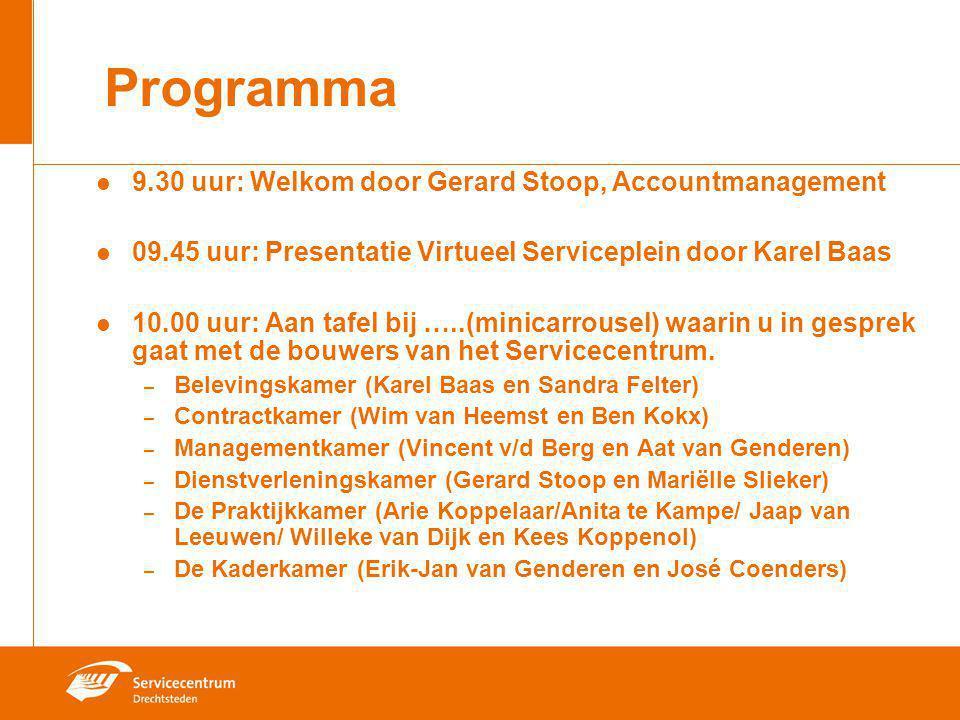 Programma 9.30 uur: Welkom door Gerard Stoop, Accountmanagement 09.45 uur: Presentatie Virtueel Serviceplein door Karel Baas 10.00 uur: Aan tafel bij