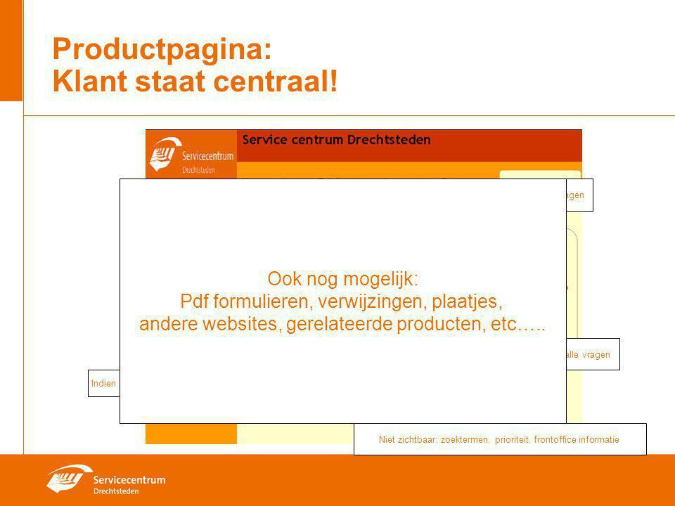 Productpagina: Klant staat centraal! Naar alle vragen Meest gestelde vragen Niet zichtbaar: zoektermen, prioriteit, frontoffice informatie Vragen+ ant