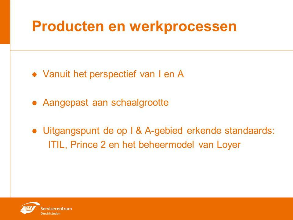 Producten en werkprocessen Vanuit het perspectief van I en A Aangepast aan schaalgrootte Uitgangspunt de op I & A-gebied erkende standaards: ITIL, Prince 2 en het beheermodel van Loyer