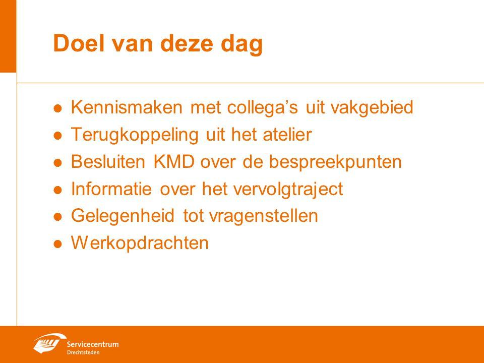 Doel van deze dag Kennismaken met collega's uit vakgebied Terugkoppeling uit het atelier Besluiten KMD over de bespreekpunten Informatie over het verv