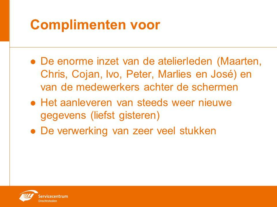 Complimenten voor De enorme inzet van de atelierleden (Maarten, Chris, Cojan, Ivo, Peter, Marlies en José) en van de medewerkers achter de schermen He