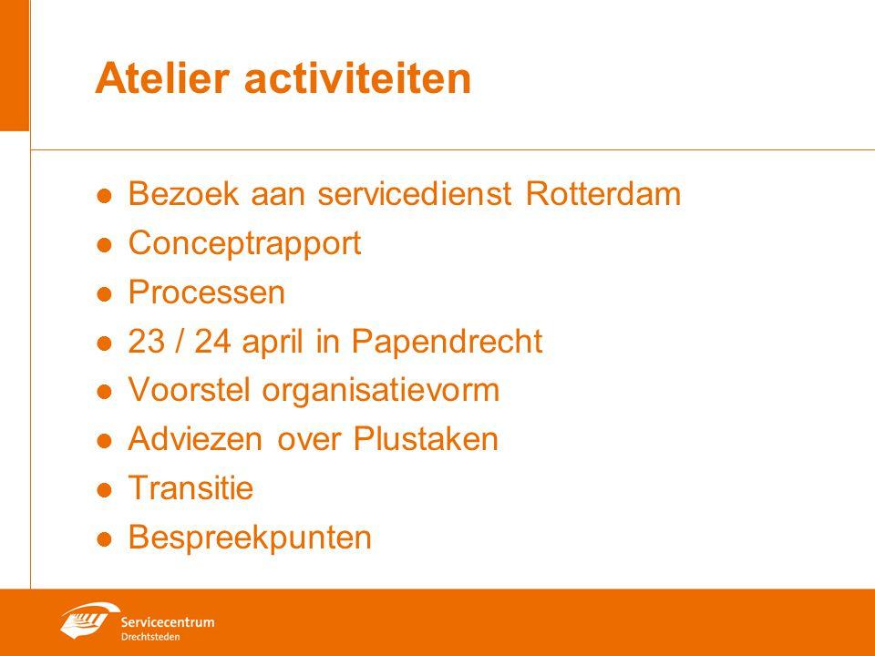 Atelier activiteiten Bezoek aan servicedienst Rotterdam Conceptrapport Processen 23 / 24 april in Papendrecht Voorstel organisatievorm Adviezen over Plustaken Transitie Bespreekpunten