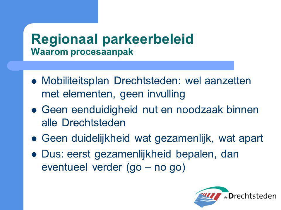 Regionaal parkeerbeleid Waarom procesaanpak Mobiliteitsplan Drechtsteden: wel aanzetten met elementen, geen invulling Geen eenduidigheid nut en noodzaak binnen alle Drechtsteden Geen duidelijkheid wat gezamenlijk, wat apart Dus: eerst gezamenlijkheid bepalen, dan eventueel verder (go – no go)
