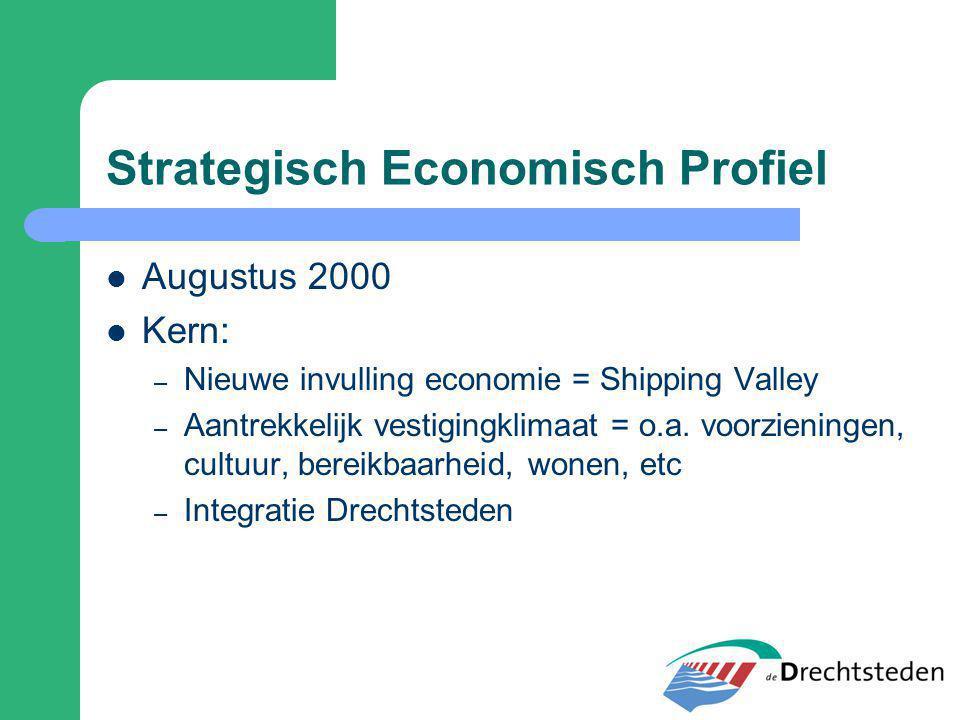 Strategisch Economisch Profiel Augustus 2000 Kern: – Nieuwe invulling economie = Shipping Valley – Aantrekkelijk vestigingklimaat = o.a. voorzieningen