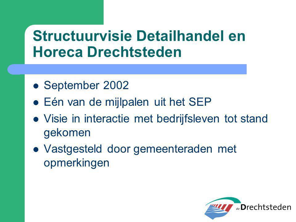 Structuurvisie Detailhandel en Horeca Drechtsteden September 2002 Eén van de mijlpalen uit het SEP Visie in interactie met bedrijfsleven tot stand gek