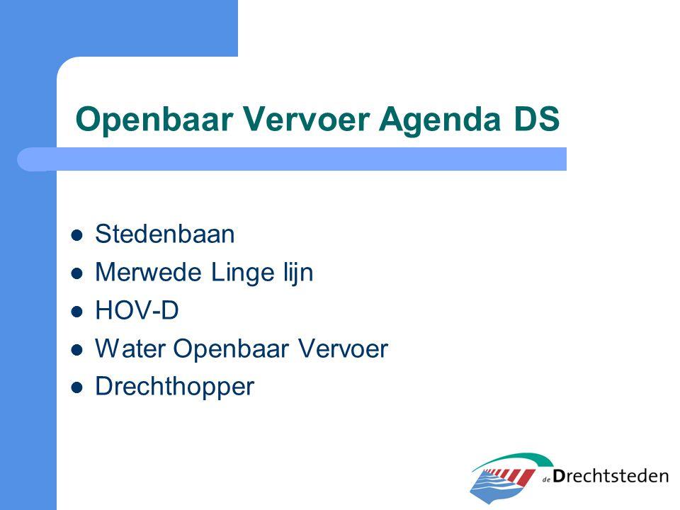 Openbaar Vervoer Agenda DS Stedenbaan Merwede Linge lijn HOV-D Water Openbaar Vervoer Drechthopper