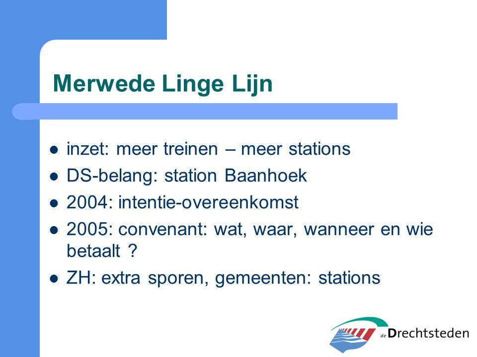 Merwede Linge Lijn inzet: meer treinen – meer stations DS-belang: station Baanhoek 2004: intentie-overeenkomst 2005: convenant: wat, waar, wanneer en