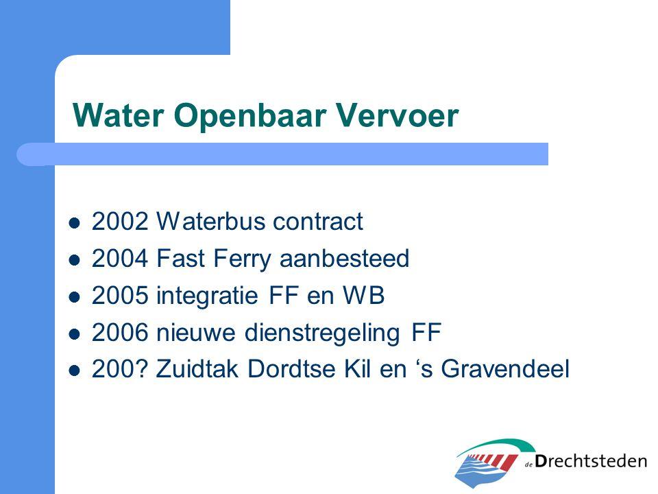 Water Openbaar Vervoer 2002 Waterbus contract 2004 Fast Ferry aanbesteed 2005 integratie FF en WB 2006 nieuwe dienstregeling FF 200? Zuidtak Dordtse K