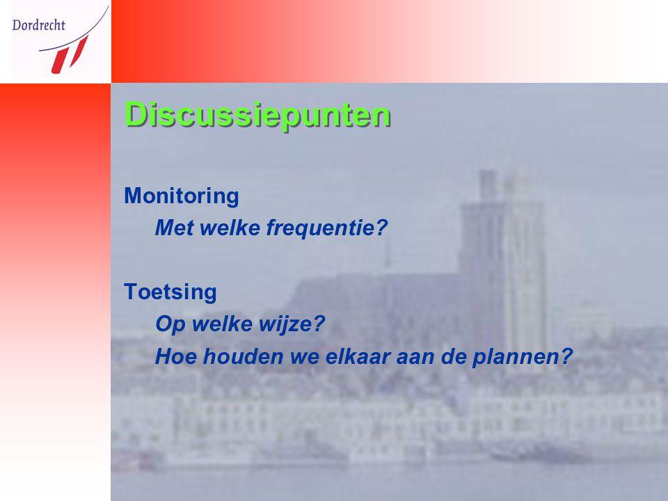 Discussiepunten Monitoring Met welke frequentie. Toetsing Op welke wijze.