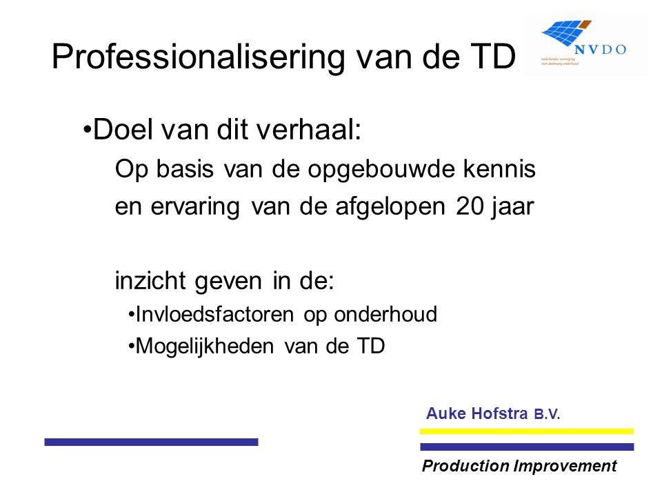 Auke Hofstra B.V. Production Improvement Professionalisering van de TD Doel van dit verhaal: Op basis van de opgebouwde kennis en ervaring van de afge