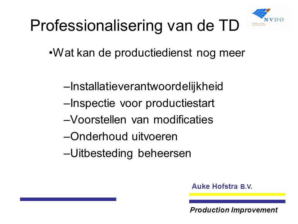 Auke Hofstra B.V. Production Improvement Professionalisering van de TD Wat kan de productiedienst nog meer –Installatieverantwoordelijkheid –Inspectie