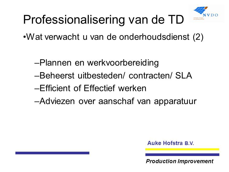 Auke Hofstra B.V. Production Improvement Professionalisering van de TD Wat verwacht u van de onderhoudsdienst (2) –Plannen en werkvoorbereiding –Behee