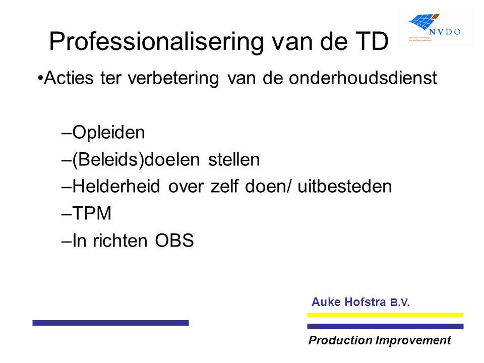 Auke Hofstra B.V. Production Improvement Professionalisering van de TD Acties ter verbetering van de onderhoudsdienst –Opleiden –(Beleids)doelen stell