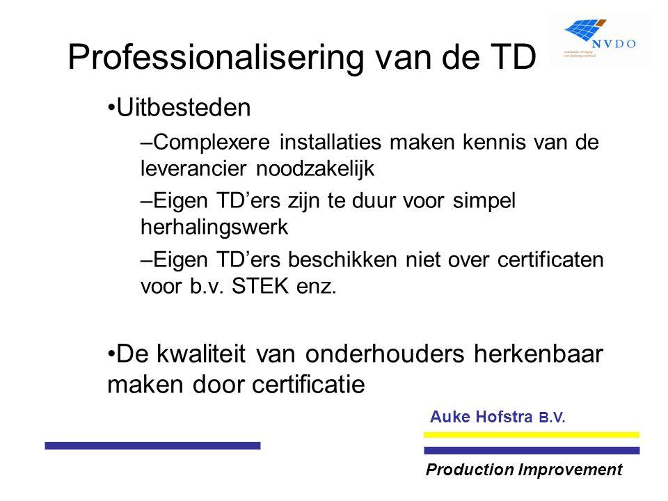 Auke Hofstra B.V. Production Improvement Professionalisering van de TD Uitbesteden –Complexere installaties maken kennis van de leverancier noodzakeli