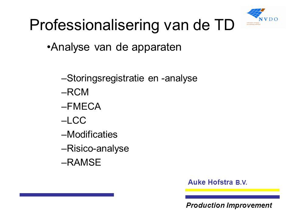 Auke Hofstra B.V. Production Improvement Professionalisering van de TD Analyse van de apparaten –Storingsregistratie en -analyse –RCM –FMECA –LCC –Mod