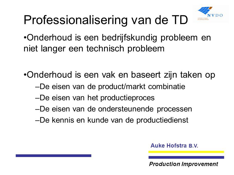 Auke Hofstra B.V. Production Improvement Professionalisering van de TD Onderhoud is een bedrijfskundig probleem en niet langer een technisch probleem
