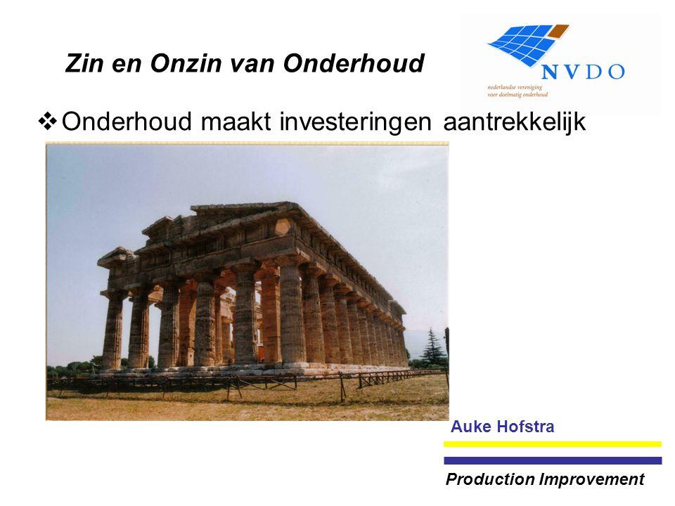 Zin en Onzin van Onderhoud  Onderhoud maakt investeringen aantrekkelijk Auke Hofstra Production Improvement