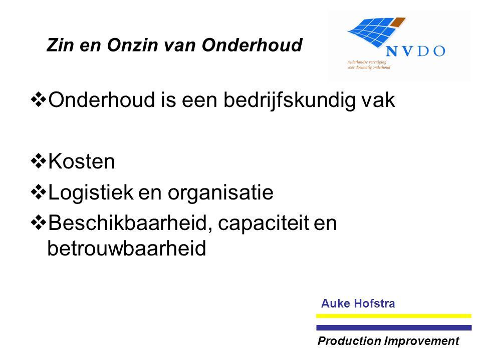 Zin en Onzin van Onderhoud  Onderhoud is een bedrijfskundig vak  Kosten  Logistiek en organisatie  Beschikbaarheid, capaciteit en betrouwbaarheid Auke Hofstra Production Improvement