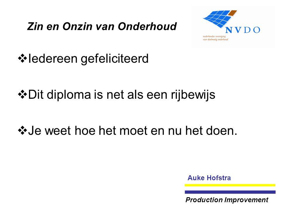 Zin en Onzin van Onderhoud  Iedereen gefeliciteerd  Dit diploma is net als een rijbewijs  Je weet hoe het moet en nu het doen. Auke Hofstra Product