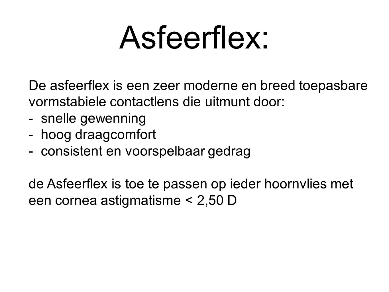 Asfeerflex: De asfeerflex is een zeer moderne en breed toepasbare vormstabiele contactlens die uitmunt door: - snelle gewenning - hoog draagcomfort - consistent en voorspelbaar gedrag de Asfeerflex is toe te passen op ieder hoornvlies met een cornea astigmatisme < 2,50 D