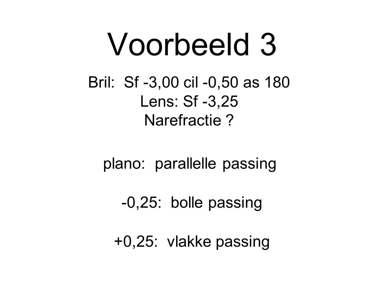 Voorbeeld 3 Bril: Sf -3,00 cil -0,50 as 180 Lens: Sf -3,25 Narefractie ? plano: parallelle passing +0,25: vlakke passing -0,25: bolle passing