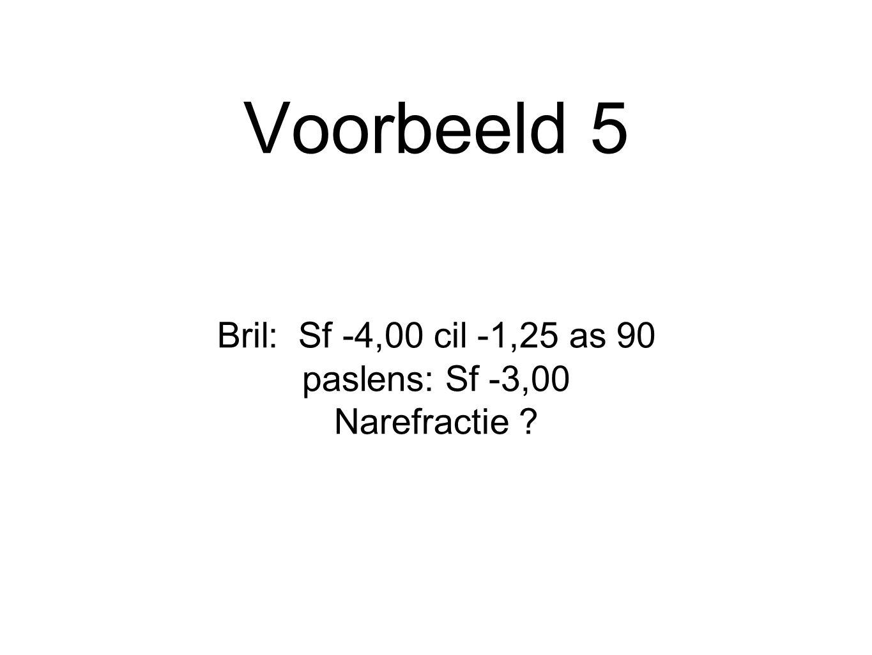 Voorbeeld 5 Bril: Sf -4,00 cil -1,25 as 90 paslens: Sf -3,00 Narefractie ?