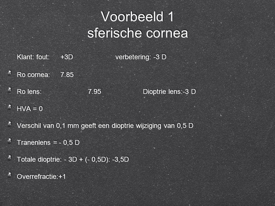 Voorbeeld 1 sferische cornea Klant: fout:+3Dverbetering: -3 D Ro cornea:7.85 Ro lens:7.95Dioptrie lens:-3 D HVA = 0 Verschil van 0,1 mm geeft een diop