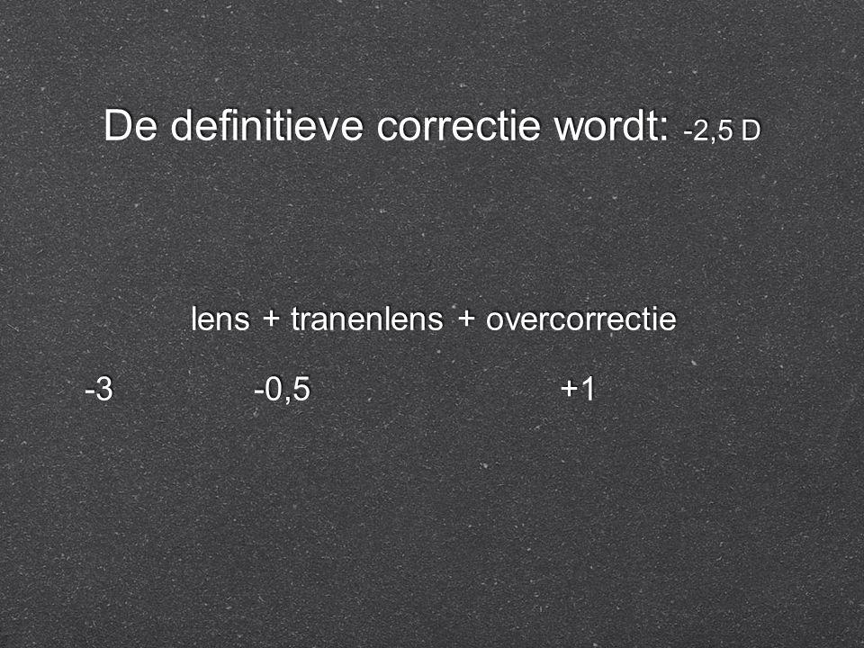 De definitieve correctie wordt: -2,5 D lens + tranenlens + overcorrectie -3 -0,5 +1 lens + tranenlens + overcorrectie -3 -0,5 +1