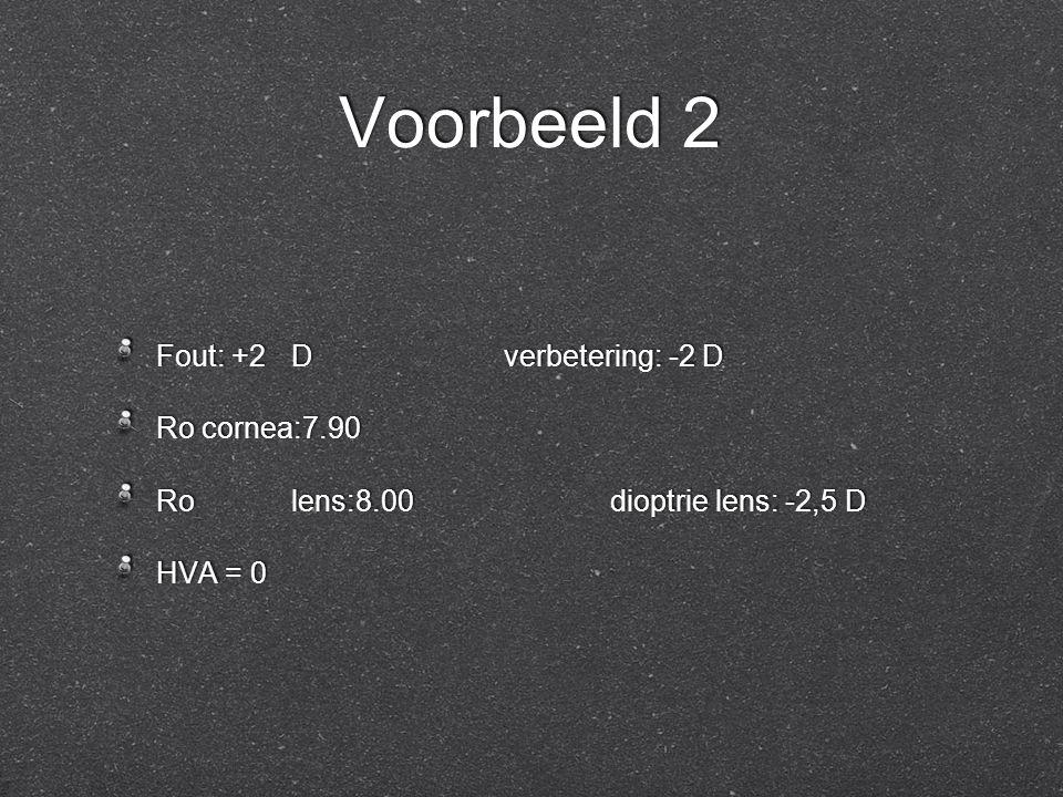 Voorbeeld 2 Fout: +2Dverbetering: -2 D Ro cornea:7.90 Rolens:8.00dioptrie lens: -2,5 D HVA = 0 Fout: +2Dverbetering: -2 D Ro cornea:7.90 Rolens:8.00di