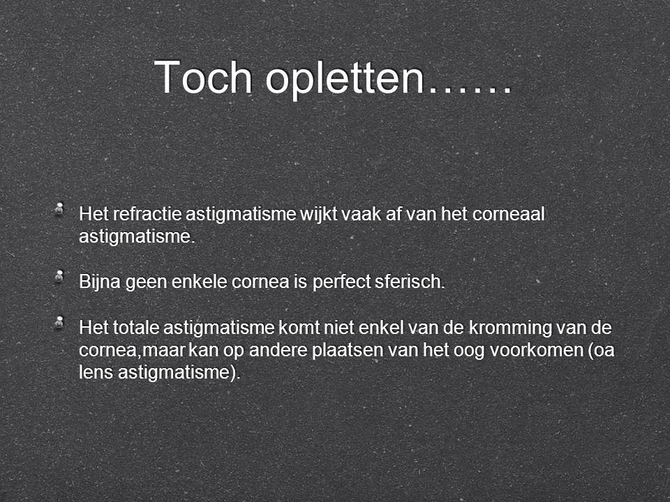 Toch opletten…… Het refractie astigmatisme wijkt vaak af van het corneaal astigmatisme. Bijna geen enkele cornea is perfect sferisch. Het totale astig