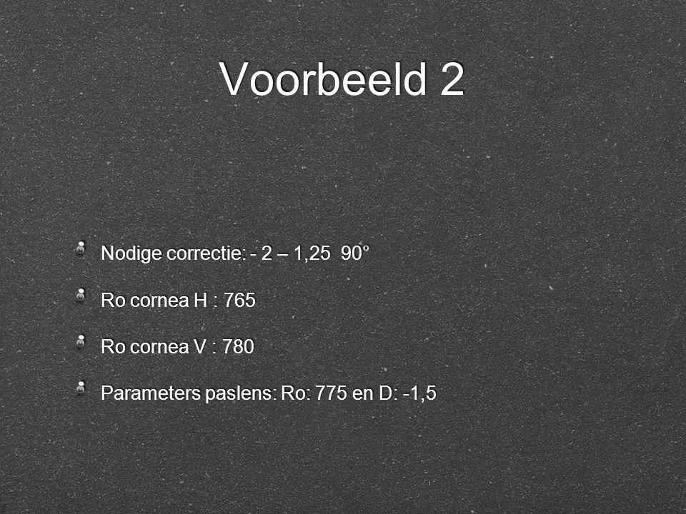 Voorbeeld 2 Nodige correctie: - 2 – 1,25 90° Ro cornea H : 765 Ro cornea V : 780 Parameters paslens: Ro: 775 en D: -1,5 Nodige correctie: - 2 – 1,25 9