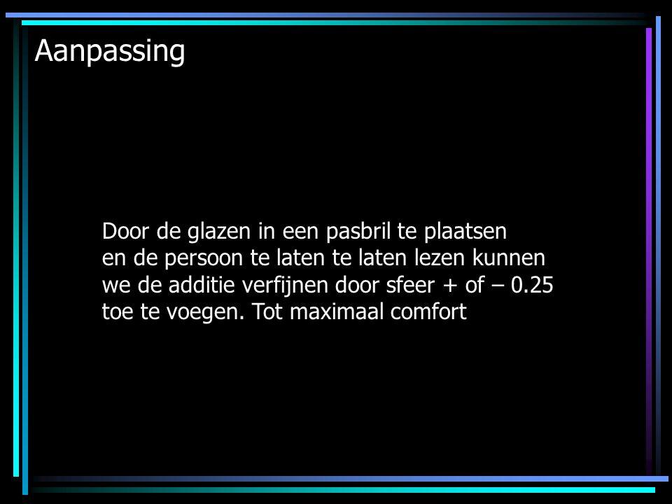 Aanpassing Door de glazen in een pasbril te plaatsen en de persoon te laten te laten lezen kunnen we de additie verfijnen door sfeer + of – 0.25 toe t