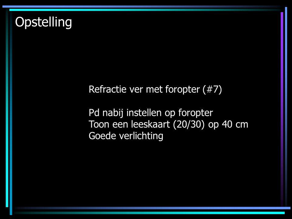 Opstelling Refractie ver met foropter (#7) Pd nabij instellen op foropter Toon een leeskaart (20/30) op 40 cm Goede verlichting
