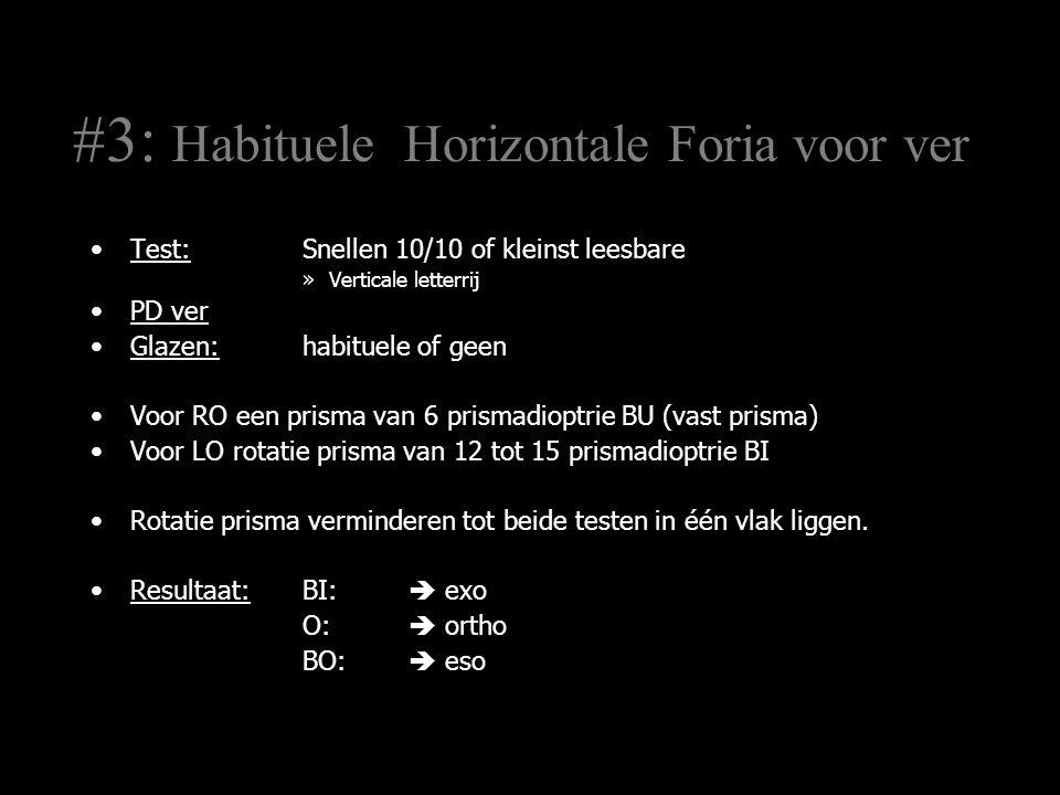 #8 Geïnduceerde Horizontale Foria voor ver Test:Snellen 10/10 of kleinst leesbare »Verticale letterrij PD ver Glazen:habituele of geen Voor RO een prisma van 6 prismadioptrie BU (vast prisma) Voor LO rotatie prisma van 12 tot 15 prismadioptrie BI Rotatie prisma verminderen tot beide testen in één vlak liggen.