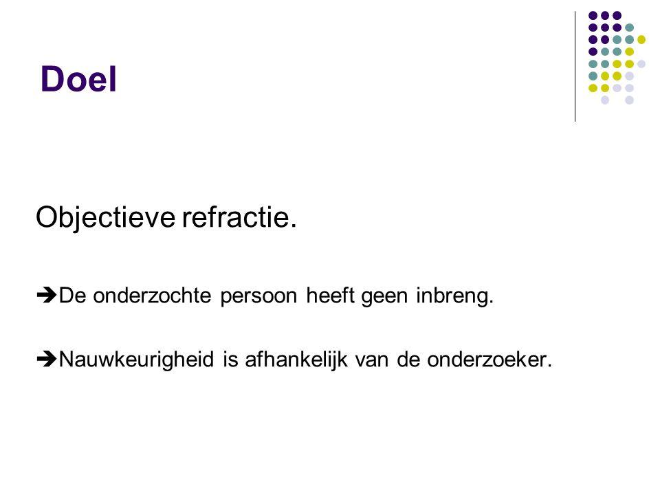 Doel Objectieve refractie.  De onderzochte persoon heeft geen inbreng.  Nauwkeurigheid is afhankelijk van de onderzoeker.