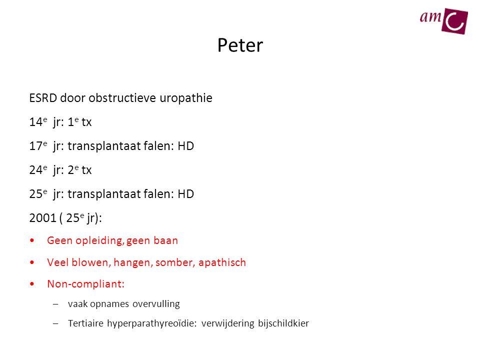 Peter ESRD door obstructieve uropathie 14 e jr: 1 e tx 17 e jr: transplantaat falen: HD 24 e jr: 2 e tx 25 e jr: transplantaat falen: HD 2001 ( 25 e j