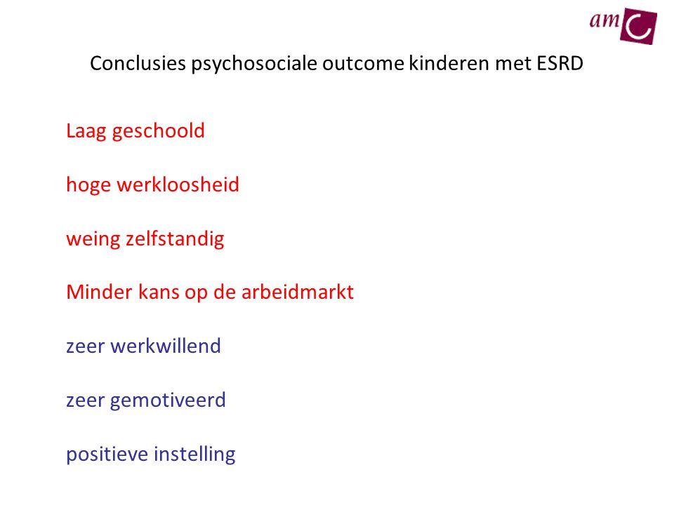Conclusies psychosociale outcome kinderen met ESRD Laag geschoold hoge werkloosheid weing zelfstandig Minder kans op de arbeidmarkt zeer werkwillend z