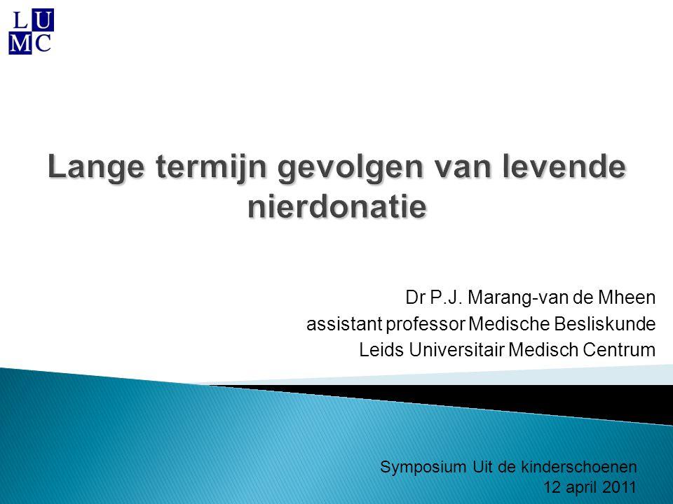 Lange termijn gevolgen van levende nierdonatie Dr P.J. Marang-van de Mheen assistant professor Medische Besliskunde Leids Universitair Medisch Centrum