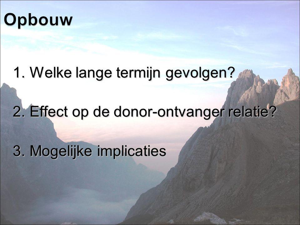 1.Welke lange termijn gevolgen? 2.Effect op de donor-ontvanger relatie? 3.Mogelijke implicaties Opbouw