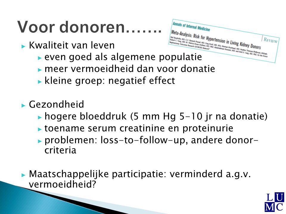  Jongere leeftijd donor ◦ vaak motivatie om te wachten op postmortale donor ◦ wat zijn gezondheidseffecten op lange termijn.
