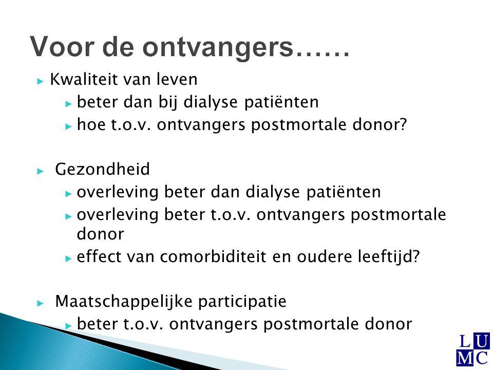 ▶ Kwaliteit van leven ▶ beter dan bij dialyse patiënten ▶ hoe t.o.v. ontvangers postmortale donor? ▶ Gezondheid ▶ overleving beter dan dialyse patiënt