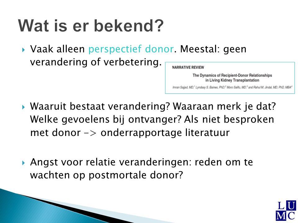  Welke motivatie voor donatie, transplantatie met levende en postmortale donor a.Informatie beschikbaar.