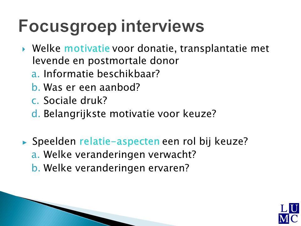  Welke motivatie voor donatie, transplantatie met levende en postmortale donor a.Informatie beschikbaar? b.Was er een aanbod? c.Sociale druk? d.Belan