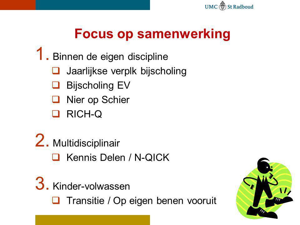Focus op samenwerking 1. Binnen de eigen discipline  Jaarlijkse verplk bijscholing  Bijscholing EV  Nier op Schier  RICH-Q 2. Multidisciplinair 