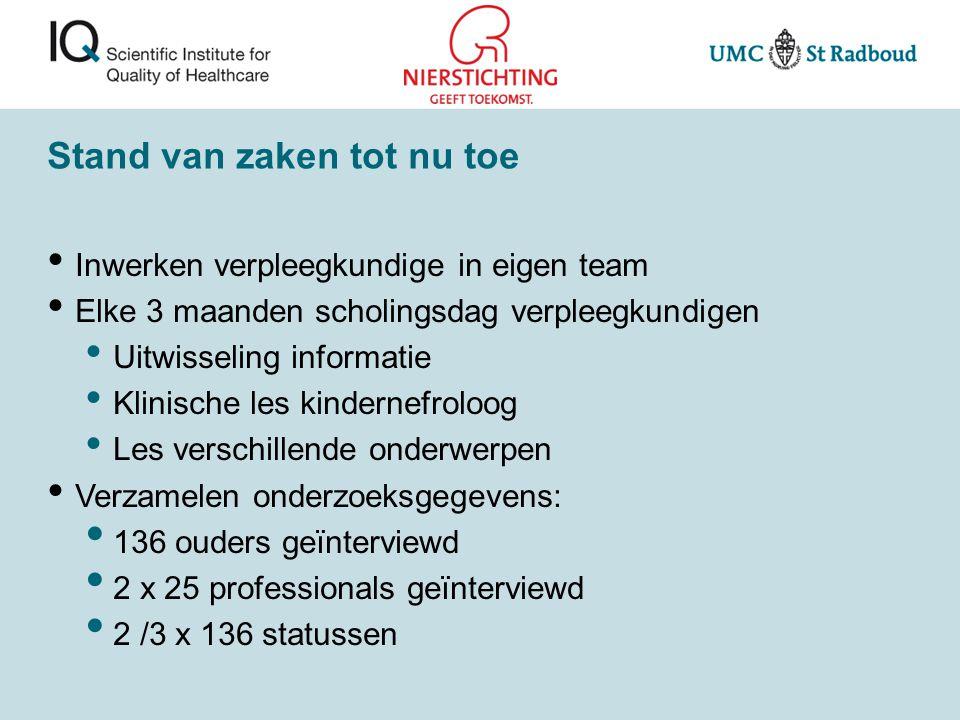 Stand van zaken tot nu toe Inwerken verpleegkundige in eigen team Elke 3 maanden scholingsdag verpleegkundigen Uitwisseling informatie Klinische les k