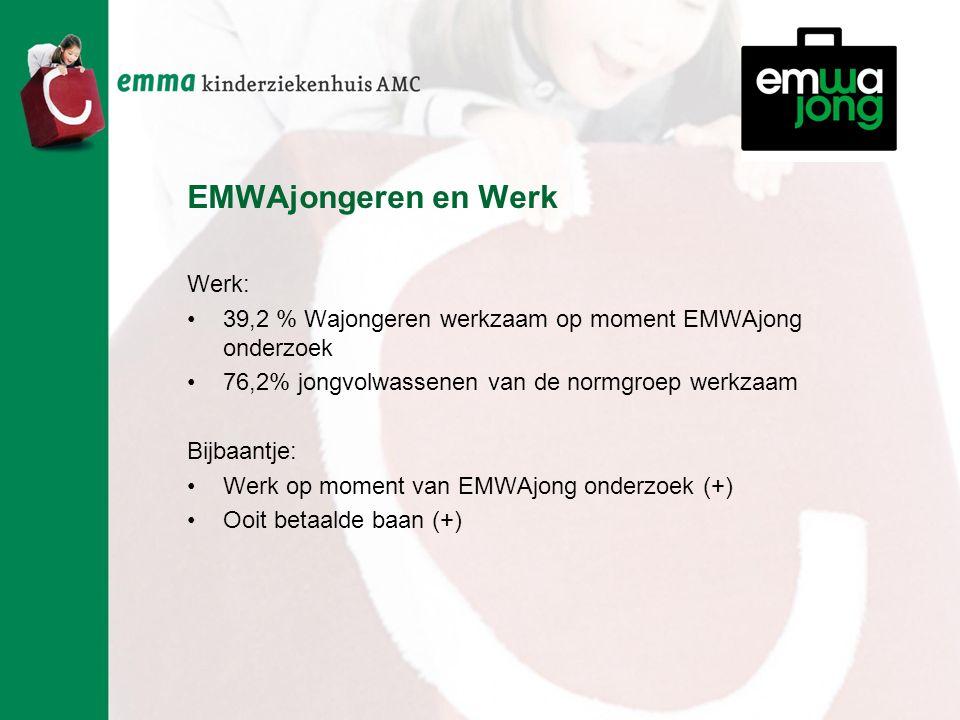 EMWAjongeren en Werk Werk: 39,2 % Wajongeren werkzaam op moment EMWAjong onderzoek 76,2% jongvolwassenen van de normgroep werkzaam Bijbaantje: Werk op moment van EMWAjong onderzoek (+) Ooit betaalde baan (+)
